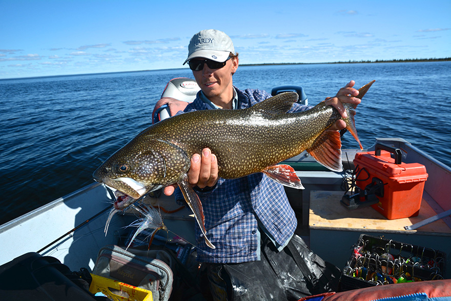 Josh Gelinas with lake trout