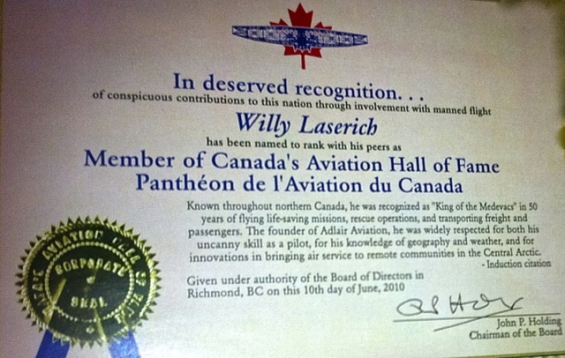 Aviation Hall of Fame Certificate